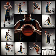 Quadro Collage of basketball photos - ball in hands and male player