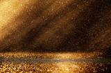 glitter vintage lights background. dark gold and black. defocuse - 120885395
