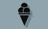 Vector black ice cream symbol with long shadow on flat background