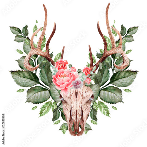 Beautiful Watercolor hand drawn floral with deer, butterfly and leaves. Illustration - 120889308