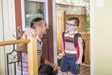 Cute 6 year old Caucasian boy inside home preschool