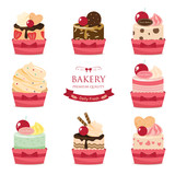 set of bakery sweet cup cake mix fruit.
