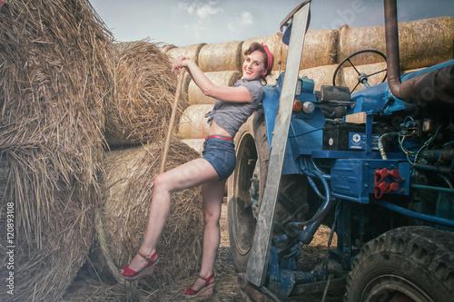 Poster Pin up Heu Traktor