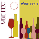 Wine Fest vertical banners  with bottle shapes