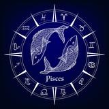 decorative patterned zodiac sign Pisces