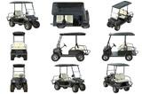 Golf car electric black transport set. 3D graphic