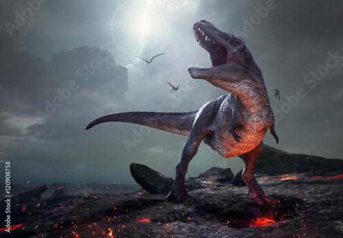 renderowania-3d-tyranozaura-rex-w-poblizu-wyginiecia