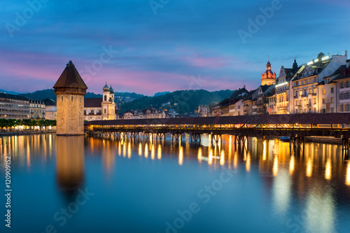 Lucerne. Image of Lucerne, Switzerland during twilight blue hour Poster