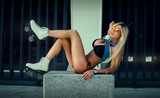 Sexy girl on roller skates