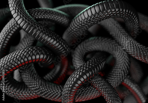 Black Snakes Abstract Background. 3D illustration