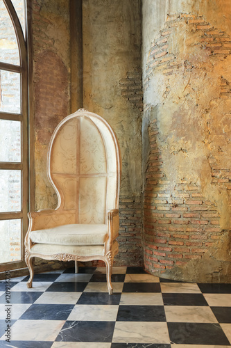 old concrete wall and chair © sundaymorning