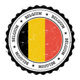Grunge rubber stamp with Belgium flag. Vintage travel stamp with circular text, stars and national flag inside it. Vector illustration. - 120942795