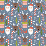 Christmas holiday seamless pattern with santa and reindeer. Hand