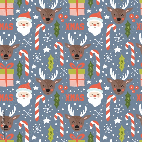 Materiał do szycia Christmas holiday seamless pattern with santa and reindeer. Hand