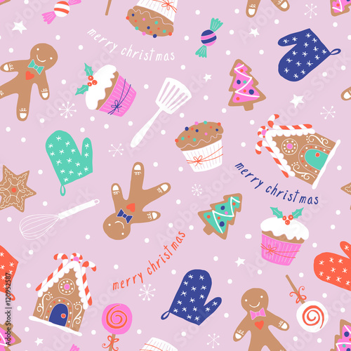 Materiał do szycia Christmas holiday baking seamless pattern with gingerbread cooki