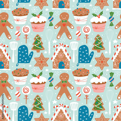 Materiał do szycia Christmas holiday cookies baking seamless pattern. Hand darwing