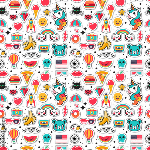 Fashion chic patches, pins, badges and stickers seamless pattern