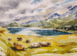 Fototapety Idyllic alpine landscape: brown cows grazing on a meadow close to the mountains and a lake.Watercolors illustration.