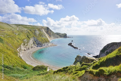 Poster Lulworth Cove on the English Jurassic Coast in Dorset, England