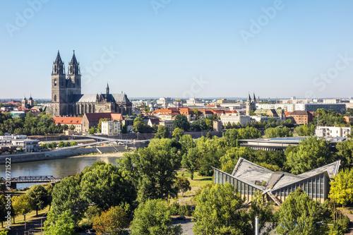 Leinwanddruck Bild Magdeburg - Aussicht