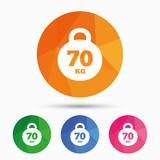 Weight sign icon. 70 kilogram (kg). Sport symbol