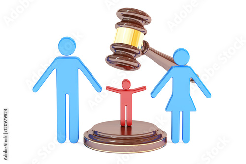 Fototapeta divorce and custody child concept with gavel and family, 3D rend