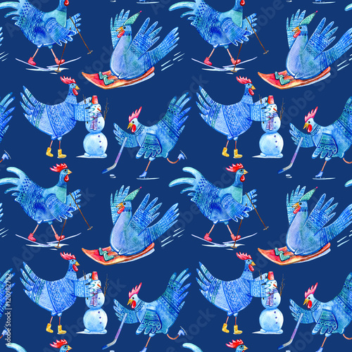 Cotton fabric Seamless pattern with comic rooster on skates,skiing,snowman and hockey.Symbol of the new year 2017.Watercolor hand drawn illustration.Dark blue background.