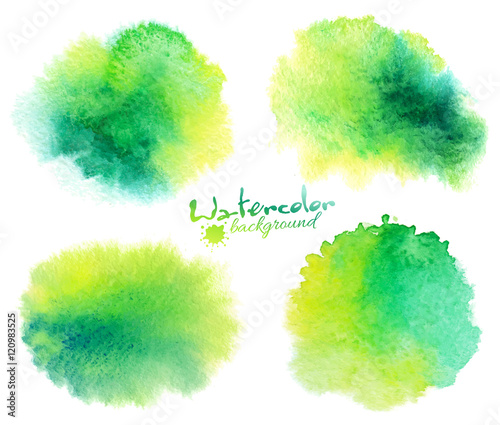Green watercolor stains backgrounds set isolated on white