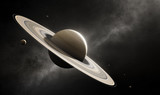 Planet Saturn with major moons