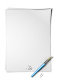 Blank page, sheet of Paper with portrait orientation over white background