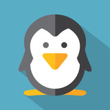 Modern Flat Design Penguin Icon Vector Illustration