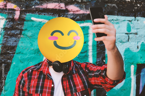 Emoji Head man taking a selfie Poster