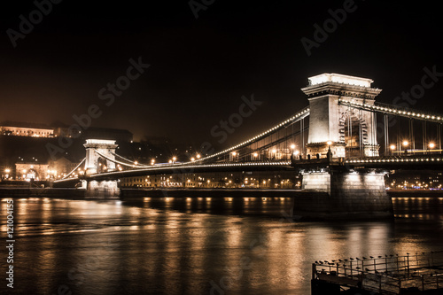 Chains Bridge in Budapest at night Poster