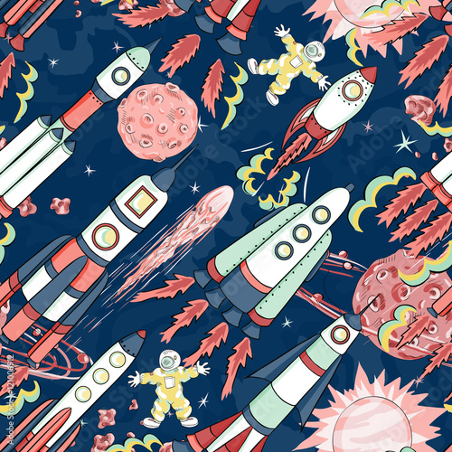 Cotton fabric spaceship seamless pattern