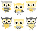 Cute cartoon baby owls in grey and yellow