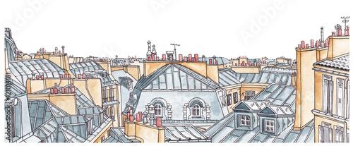 Fototapeta Paris rooftops skyline