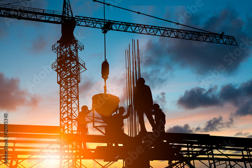 Silhouette People heavy industrial sector construction worker, p