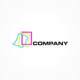 Colorful leaves of a book, logo template