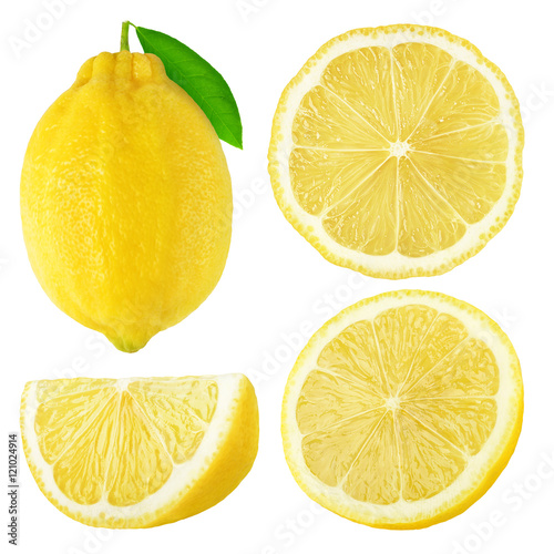 Isolated lemon fruits collection плакат