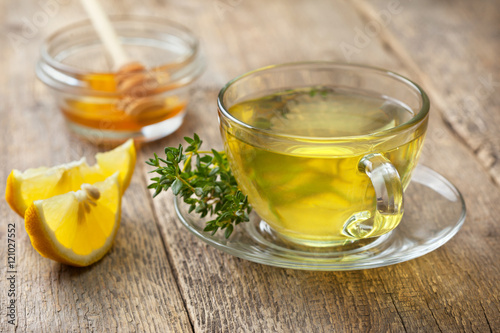 thyme tea in glass cup