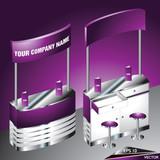 Blank Purple Exhibition Counter Desk