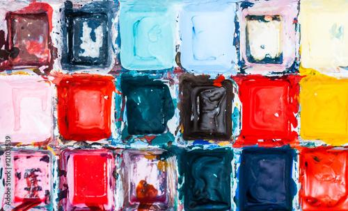 Multicolor kids' bright messy paint © sritangphoto