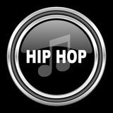 hip hop silver chrome metallic round web icon on black background
