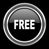 free silver chrome metallic round web icon on black background