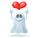 Smiley cartoon ghost character with heart