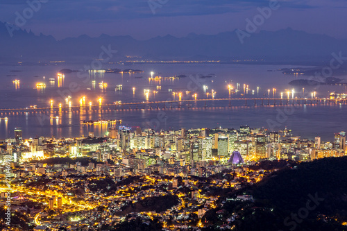 Aerial view of Rio de Janeiro downtown by night Poster
