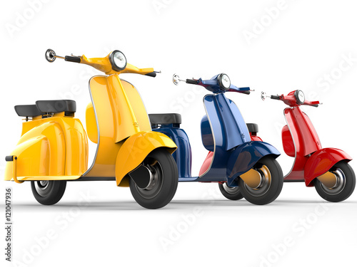 Colorful vintage mopeds