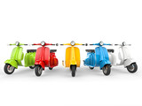 Bright and colorful vintage mopeds