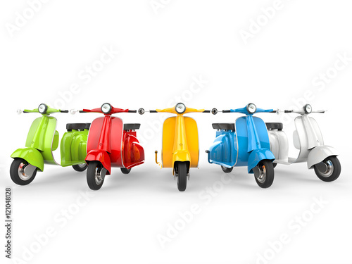 Fotobehang Scooter Bright and colorful vintage mopeds