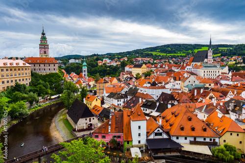 Cesky Krumlov tower view, Czech Republic. UNESCO World Heritage Site. © daliu